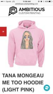Tana Mongeau Me Too Hoodie (Light Pink)